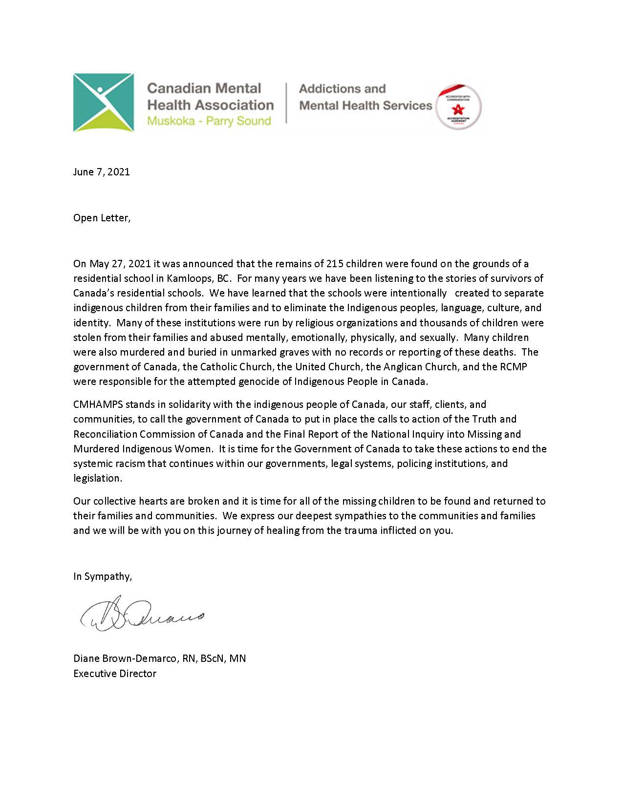 Letter from Executive Director in response to Indigenous children found in Kamloops BC